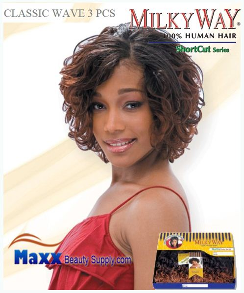 MilkyWay Human Hair Weave Short Cut Series - Classic Wave 3pcs